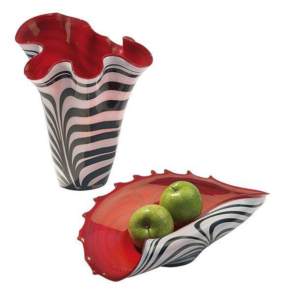 Glasvase und -schale rot-weiß im Set