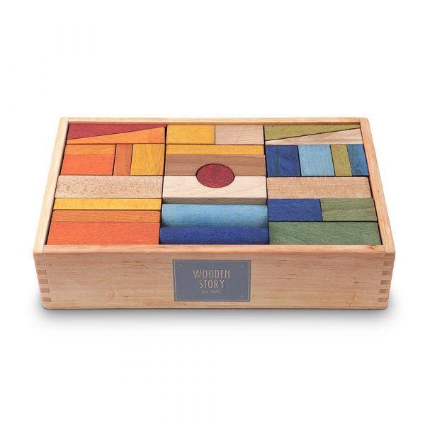 Regenbogen Holzbausteine - 63 Stück