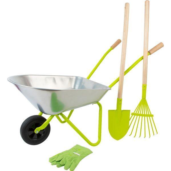 Kinder-Schubkarre mit Gartenwerkzeug
