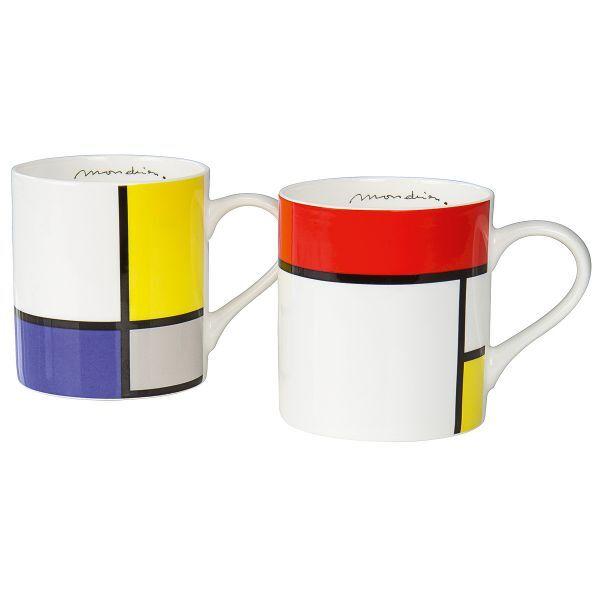 2 Kaffeebecher mit Künstlermotiven von Mondrian