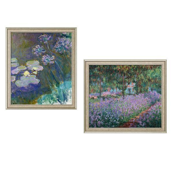 Monet, Claude: »Gelbe Seerosen und Agapanthus« und »Irisbeet in Monets Garten« im Set