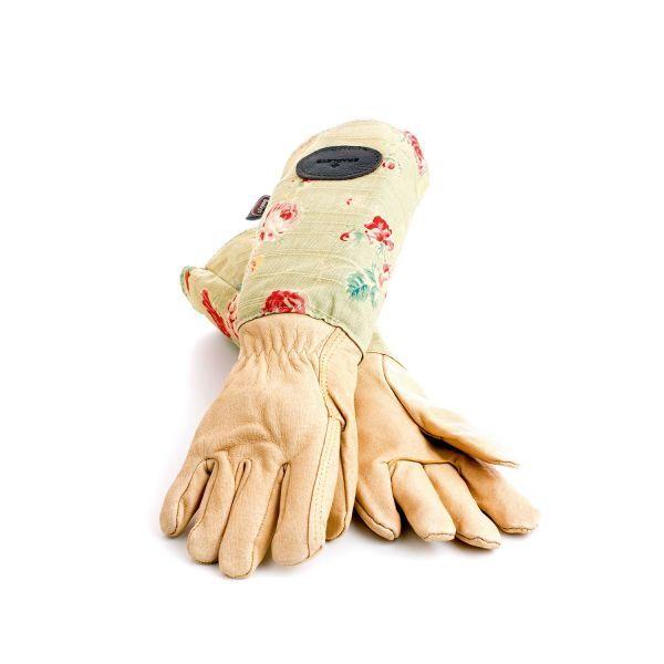 Leder-Leinen-Handschuhe mit Rosenmotiv