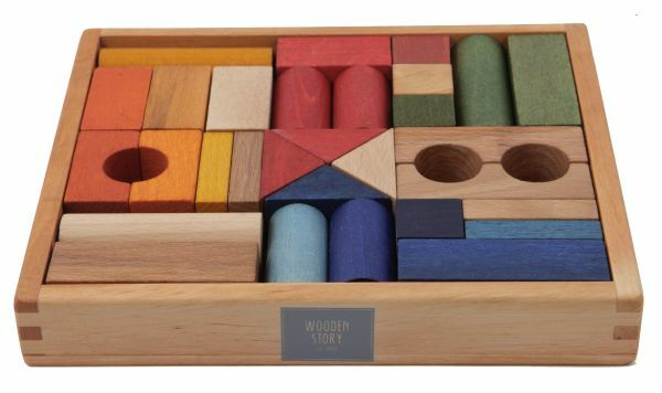 Regenbogen Holzbausteine - 30 Stück