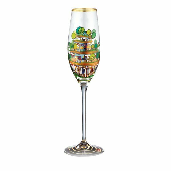 Sektglas »Die Häuser hängen unter Wiesen«