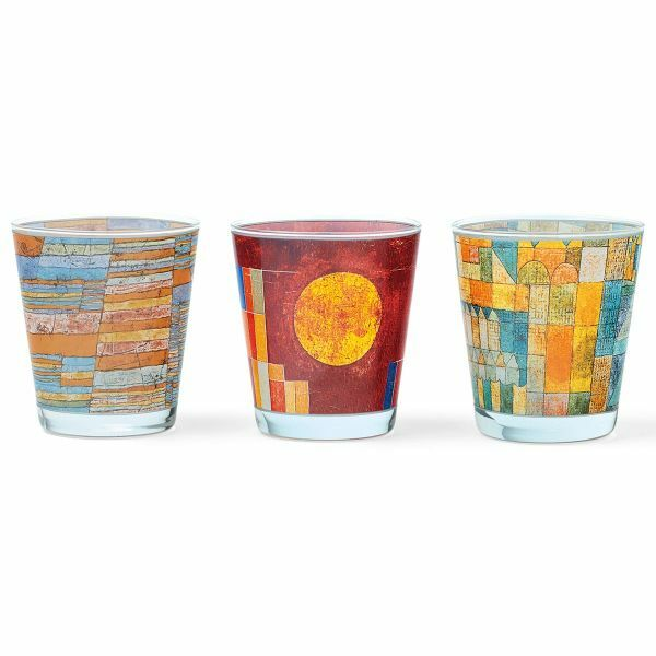 3 Glas-Windlichter mit Künstlermotiven von Klee