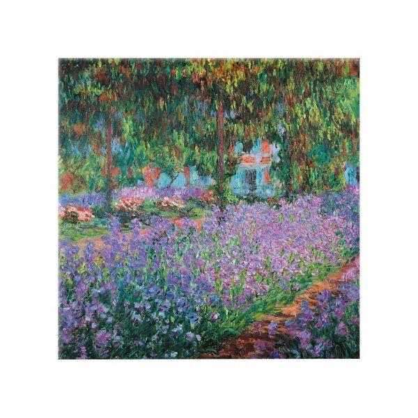 Monet, Claude: Glasbild »Irisbeet in Monets Garten«