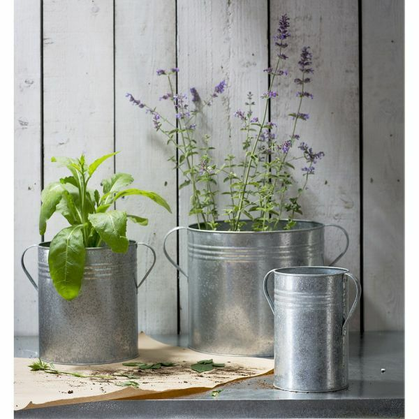 3er-Set Pflanztöpfe aus verzinktem Stahl